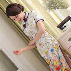 TIC-TEC chinese cheongsam long qipao lace slim vintage oriental print dresses women tradicional party weeding clothes P3105