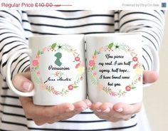ON SALE Jane Austen Mug, Persuasion, Captain Wentworth's Letter,Half agony, half hope Quote, Floral Design, Romantic Mug, Statement Mug, UK