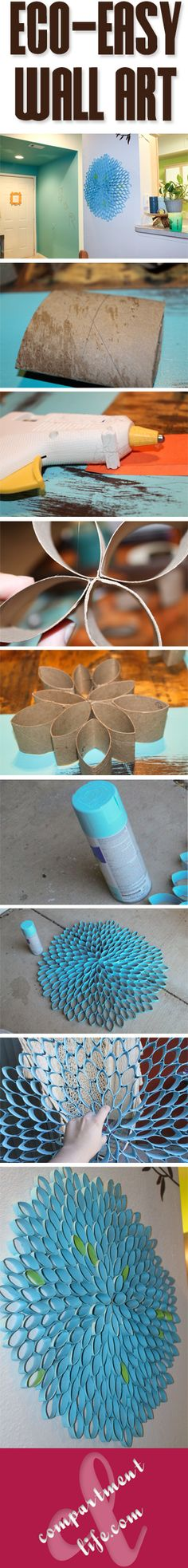 How to create a piece of wall art using toilet paper rolls and spray paint