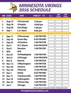 Minnesota Vikings 2016 Football Schedule. Print Schedule Here - http://printableteamschedules.com/NFL/minnesotavikingsschedule.php