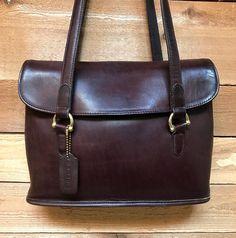 Vintage Coach Satchel Tote Vtg Dark Brown Leather Bonnie Cashin Era Handbag  Made in USA 26021431cf