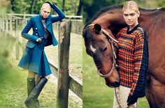 High fashion equestrian style on Kate Upton in Vogue. Equestrian Chic, Equestrian Outfits, Equestrian Fashion, Horse Fashion, Riding Hats, Riding Helmets, Horse Riding, Countryside Fashion, Year Of The Horse