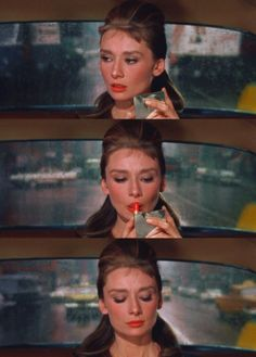 A girl can't read that sort of thing without her lipstick - Audrey Hepburn in Breakfast at Tiffany's, displaying courage through cosmetics.