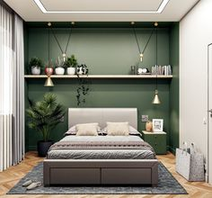 Olive Green Bedroom Walls 51 Green Bedrooms with Tips and Accessories to Help You Olive Green Bedrooms, Emerald Green Bedrooms, Sage Green Bedroom, Green Bedroom Walls, Green Master Bedroom, Room Ideas Bedroom, Home Decor Bedroom, Olive Bedroom, Painting Bedroom Walls