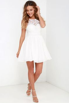 Truth and Fiction Ivory Lace Skater Dress at Lulus.com!