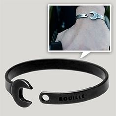 Rouille Heritage Wrench Bracelet in black or silver, and also a gold edition. Jewelry Art, Jewlery, Silver Jewelry, Jewelry Accessories, Jewelry Design, Wrench Tattoo, Men's Ankle Bracelet, Mens Gold Bracelets, Mechanical Art