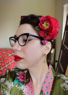 Double Red Rose Hairflower by SassafrasFox on Etsy