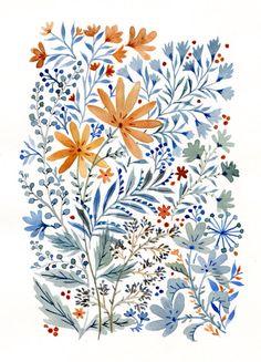 More watercolor flowers (Vikki Chu) - pretty things - Art And Illustration, Watercolor Illustration, Watercolor Pattern, Watercolor Flowers, Watercolor Paintings, Watercolor Portraits, Watercolor Landscape, Abstract Paintings, Watercolors
