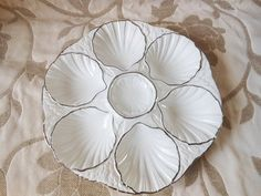 Oyster Plate, Vintage French Oyster Plate by Sarragumines,white porcelain vintage plate,Vintage Dish Seafood