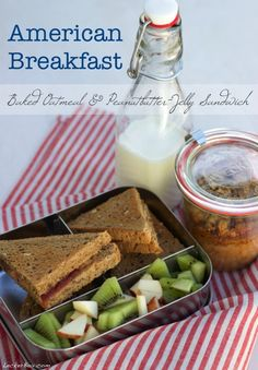 MittwochsBox #34: American-Breakfast with Baked Oatmeal and Peanubutter-Jelly Sandwich