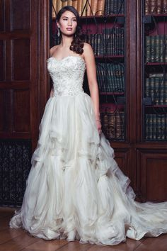 Love both the textured skirt and amazing embellishment on this bodice. The gorgeous Jacqueline by Augusta Jones.