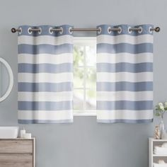 Buy Cabana Stripe 38 Inch Window Curtain Tier Pair In Blue From Bed Bath U0026