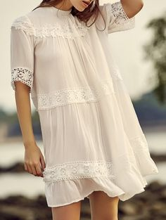 SHARE & Get it FREE | White Lace Splicing Stand Neck Half Sleeve DressFor Fashion Lovers only:80,000+ Items • New Arrivals Daily Join Zaful: Get YOUR $50 NOW!