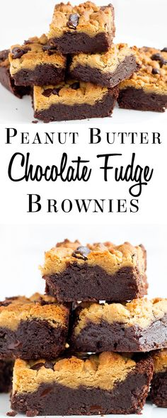 Peanut Butter Chocolate Fudge Brownies - Erren's Kitchen - This is one outrageous recipe that combines gloriously, gooey chocolate brownies and peanut cookies. What more could you want out of a dessert?