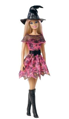 Barbie 2012 Halloween Barbie Doll. New 2012 Barbie Halloween Doll. Halloween is ready to trick or treat in her witch costume. Scary cute witch's outfit features a spider-web print. A pointy witch's hat, pink highlighted hair, and knee high boots complete the look. Halloween Barbie is a perfect addition to any Barbie collection.