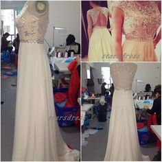 Light Champagne Sexy Backless Long Prom Dresses Chic Elaborated Chiffon Evening Party Gowns Vestido Formales 2014 Hot Pageant Gown on Etsy, $145.99