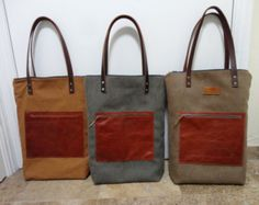 unisex light brown suede fabric and leather tote bag with zipper