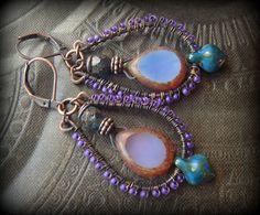 Boho, Hoops, Colorful, Lavender, Purple, Copper, Organic, Rustic, Primitive, Weaved, Beaded Earrings