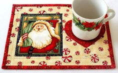 Christmas Mug Rug Quilted Cream Mug Rug Santa by RedNeedleQuilts