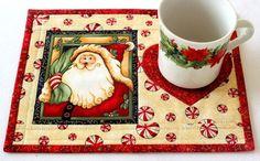 Christmas Mug Rug Quilted Cream Mug Rug Santa by RedNeedleQuilts