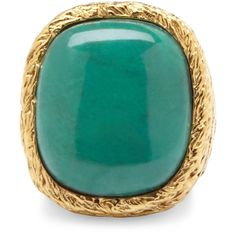 Aurelie Bidermann Miki Dora 18K Gold Rope Ring With Large Turquoise... ($510) ❤ liked on Polyvore