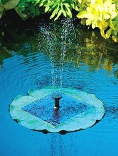 "Floating Lily Solar Pond Pump.  The solar panel is built in to the lily pad. The 6 volt solar pump, beneath the solar panel, continuously circulates the water up through the center spout, creating an upward spray (of up to 18"") that falls back into the pond with beautiful water sounds. This solar pond fountain includes everything you need, is self contained and needs no installation. #ponds #pondfountain #gardendecor"