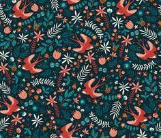 Flying Swallows fabric by annadeegan on Spoonflower - custom fabric