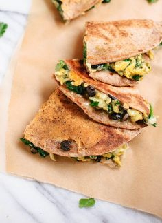 Breakfast Quesadillas with Scrambled Eggs, Spinach and Black Beans   Skinny Mom   Where Moms Get the Skinny on Healthy Living