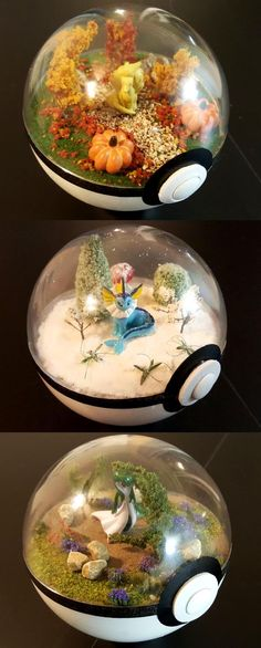 Any Pokemon fan would be thrilled to receive these Pokeball terrariums as a gift! Each of these terrariums are handmade from diorama crafting supplies and Pokemon figures to give you a peek inside of what really goes on in a Pokeball. Pikachu, Pokemon Go, Pokemon Craft, Pokemon Stuff, Pokemon Fusion, Pokemon Diys, Geek Culture, Deco Pastel, M Anime