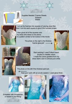 Elsa's dress bodice with foamies and metallic paint... WHAAAA?!