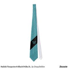 Stylish Turquoise & Black Polka Dot Monogram Tie