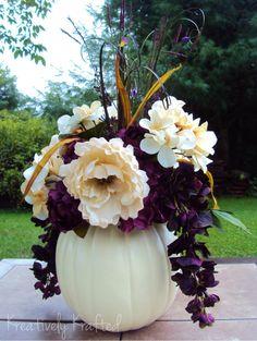 White / Cream & Purple Plum Eggplant  Pumpkin Flower Table Centerpiece Summer Autumn Fall Wedding Beautiful