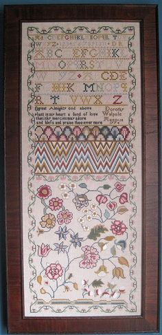 I'm not a huge fan of sampler reproductions but this one seems fresher, esp. the flowers. Now do I want to invest in AVAS or go cotton?  DOROTHY WALPOLE by The Scarlet Letter.