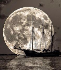 """Moon Sailing by """"Hey, take me, take me to your dream, take me to your deep deep heart. I'm just a lonely sailor sailing on this boundless sea. You are my only direction, you are the dawn of. Old Sailing Ships, Shoot The Moon, Moon Pictures, Moon Photography, Beautiful Moon, Moon Art, Stars And Moon, Full Moon, Night Skies"""