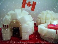 These sugar cube igloos are a fun and interactive Canadian craft for teaching kids about the history of the Inuit people. They also make wonderfully unique Canadian party decorations! Canada Day Party, Canadian Party, Igloo Craft, Igloo Building, American Heritage Girls, Canada Holiday, Sugar Cubes, Free To Use Images, Royal Icing