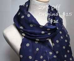 Hey, I found this really awesome Etsy listing at http://www.etsy.com/listing/113948450/navy-blue-polka-dot-scarf