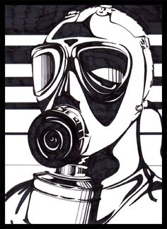 gas mask linoleum print - Google Search
