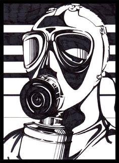 gas mask linoleum print - Google Search