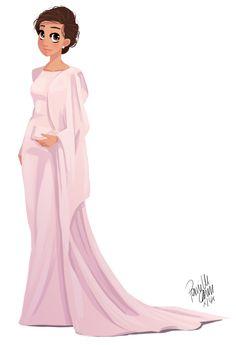 Y el dibujo terminado.  Camila Alvez en la alfombra roja en los Oscar 2014