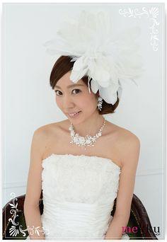 【ヘッドドレス】2wayフェザーヘアアクセサリー[ha079]/ウェディングアクセサリー~mekku~【メック】