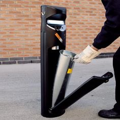 The Ashguard SG is a double-sided outdoor, floor standing cigarette bin, ideal for entrance areas. Entrance, Diy, Recycling Bins, Outer Space, Recycled Materials, Stainless Steel, Cigars, Entryway, Bricolage