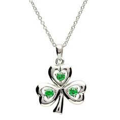 Sterling silver and polished green stones make up this charming pendant. Melted into the shape of the traditional Irish Shamrock, the necklace has been polished till it gleams, and set with three distinctive emerald-green stones. The handcrafted pendant has a jaunty edge to the little stem, and is perfect for any individual with a Irish sense of humor.The symbol of the Shamrock is one known in almost every corner of the world. This little green leaf is said to represent all of Ireland