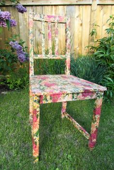 floral chair...I have a footstool that is longing for a makeover.