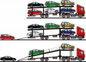Conjunto de transportadores auto aislado sobre fondo blanco en estilo plano en diferentes posiciones. Ilustración de vector — Vector de stock