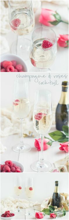 The perfect drink for Valentine's or Mother's Day- Champagne and Roses Cocktail! So fun & special :) ~ http://bakingamoment.com