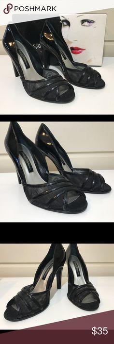 BEVERLY FELDMAN BLACK PEEP TOE HEELS BEVERLY FELDMAN BLACK PEEP TOE HEELS SUPER CUTE SIZE 6 Shoes Heels