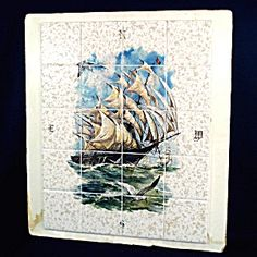 Sailing Ship Mural Tile Backsplash Insert