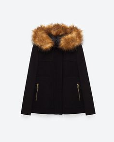 Image 8 of COAT WITH FAUX FUR HOOD from Zara