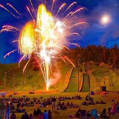 Fireworks at Howelsen Hill in Steamboat Springs, Colorado. Summer fun!