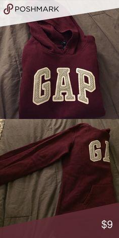 f8971ef3fcf2 Burgundy Gap Hoodie. Gap Hoodie. No drawstrings. 77% cotton. 23%